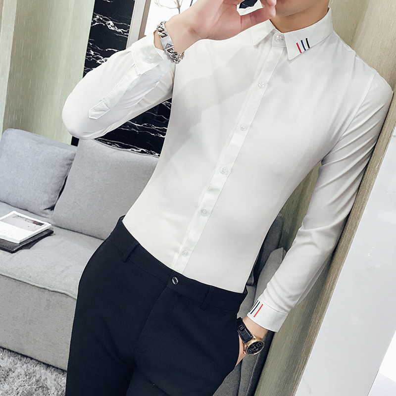 Smart Slim-Fit Long-Sleeves with Minimalist Line Accent for Formal Events