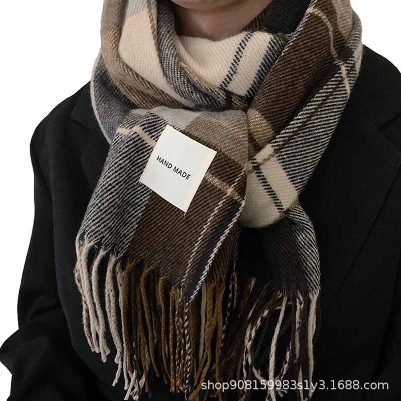 Stylish Faux Cashmere Fringed Plaid Scarf for Winter Wear