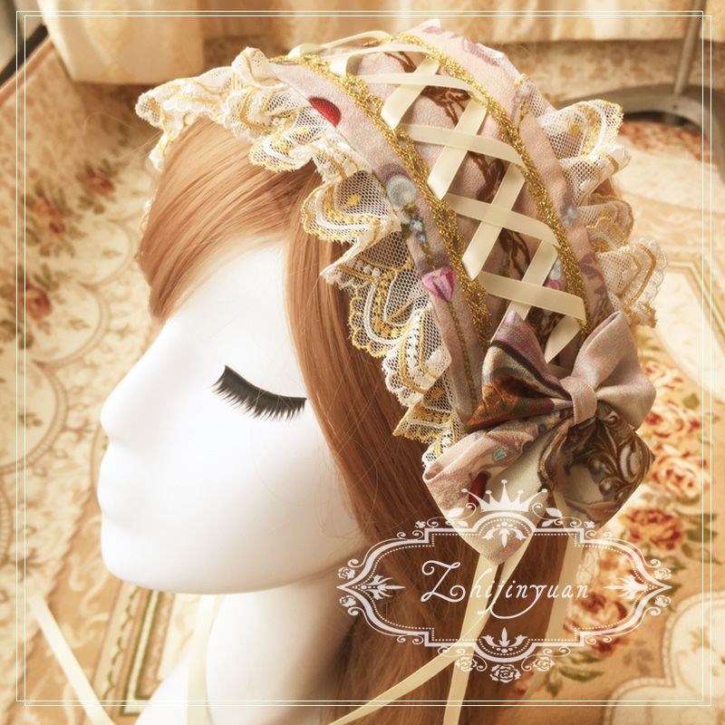 Vintage Bow Lace Headdress for Costume Parties