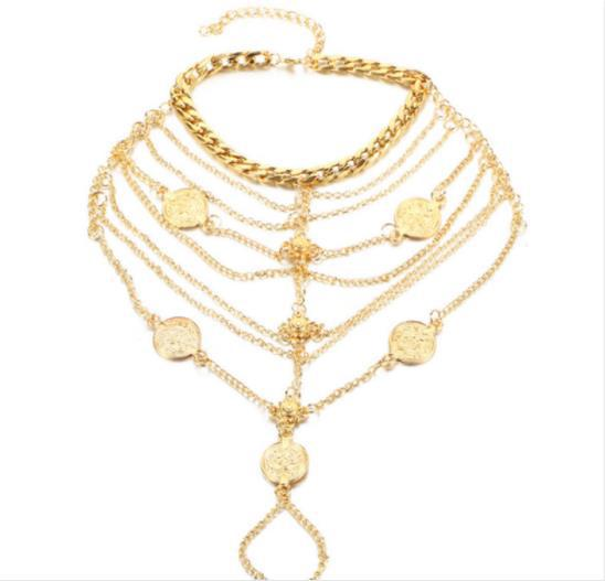 Multilayer Chain Tassel Toe Ring Anklet for Beach Vacation Stylish Look