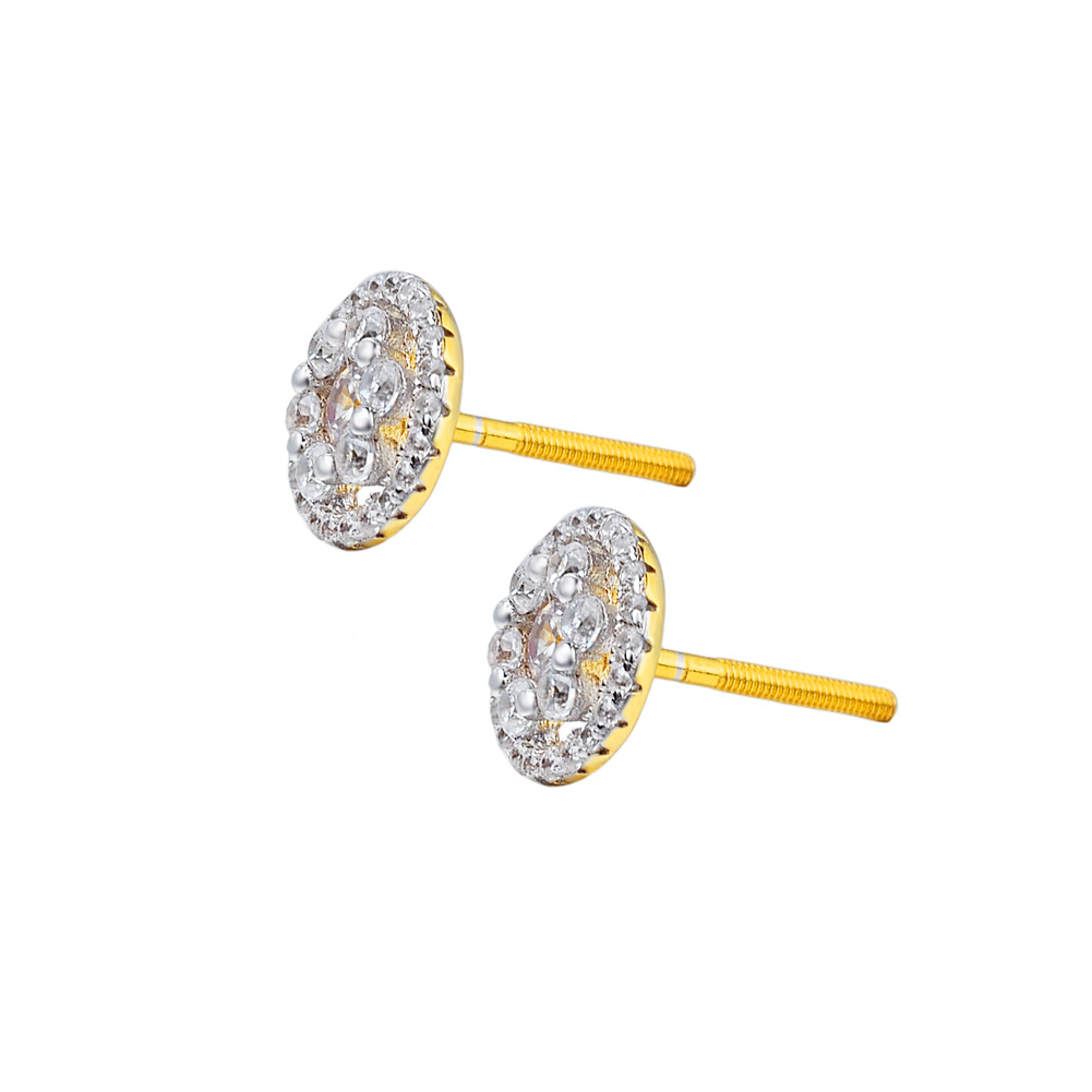 Classy Gold Studded Faux Diamond Earrings for Casual Dates