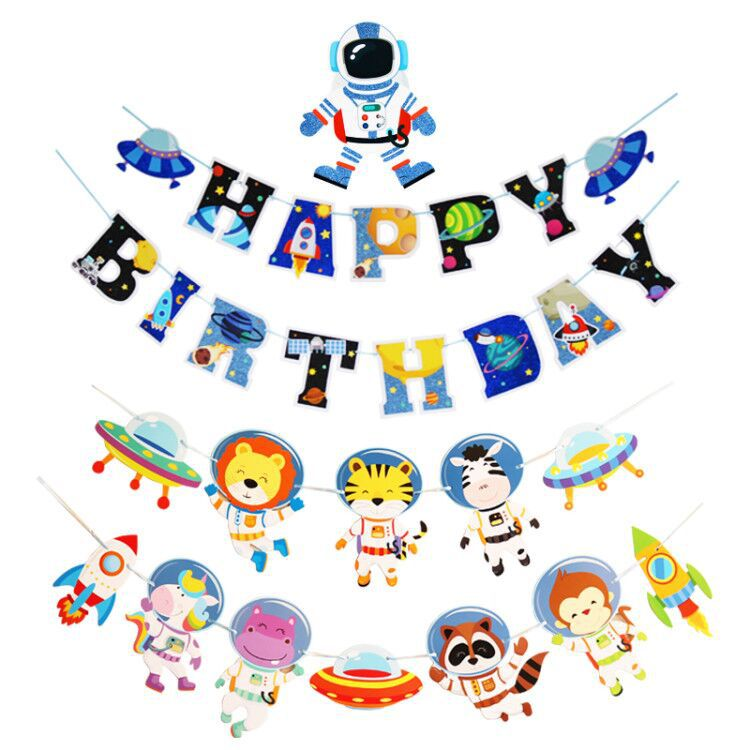 Cute Astronaut Party Banner for Birthday Celebration