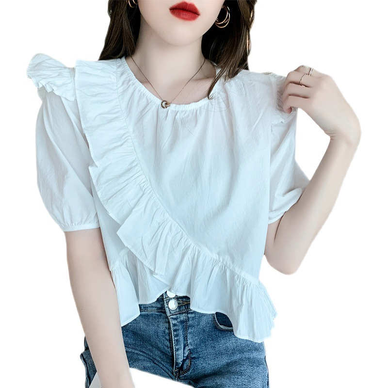 Posh Plain Ruffled Short Sleeves Top for Weekend Outings