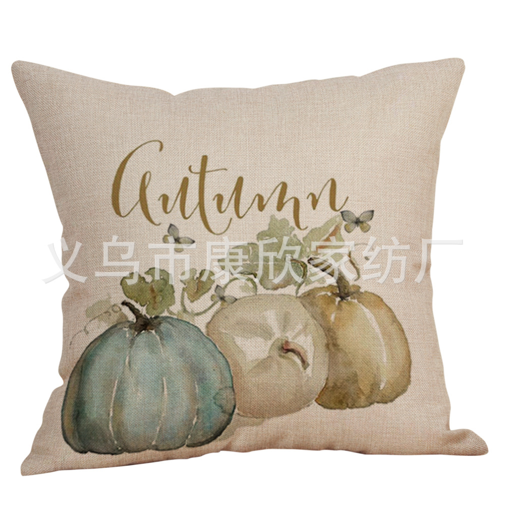 Autumn Design Print Linen Pillowcase for Seasonal Decoration