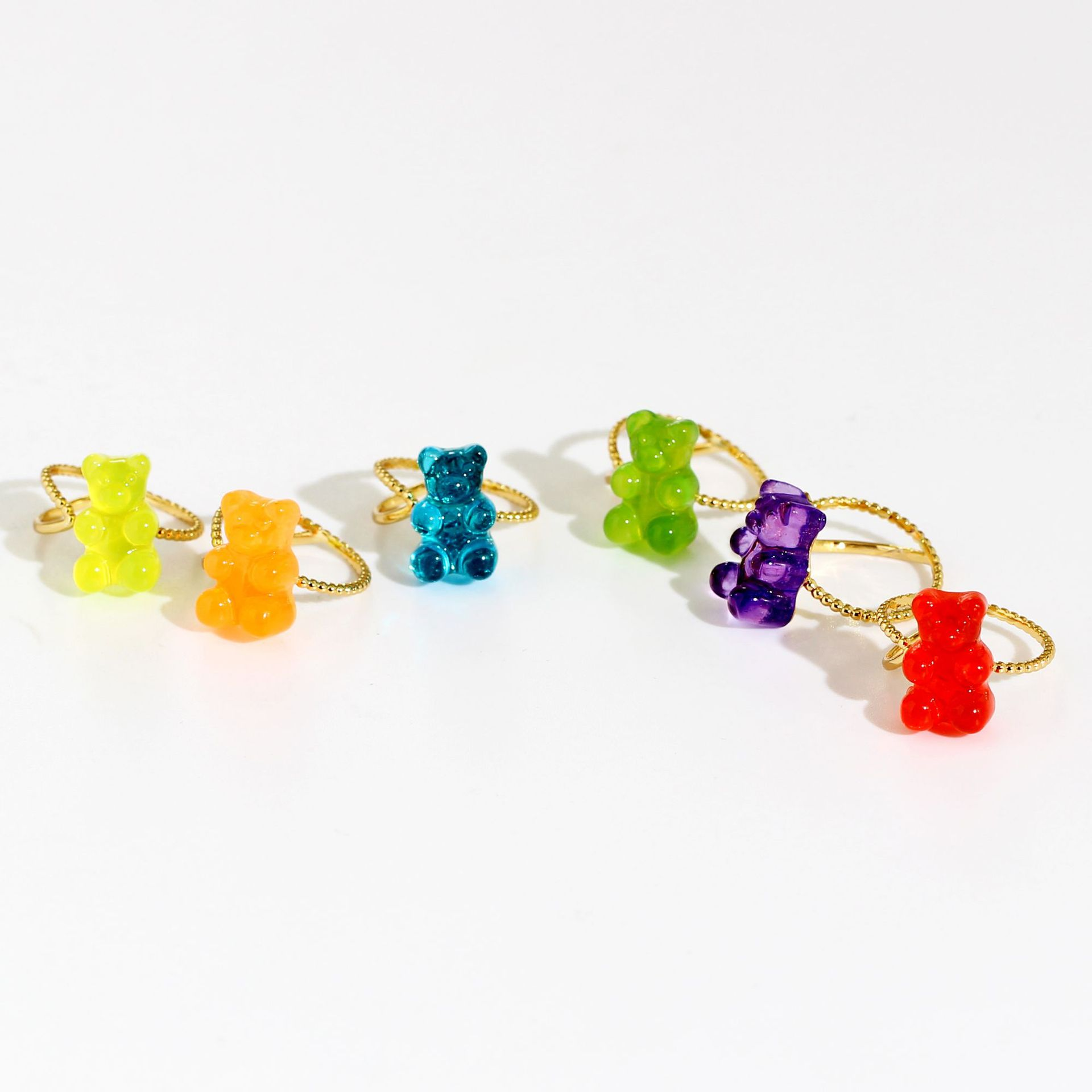Cute Bear Shaped Copper Plated and Gold Glass Ring for Accessories