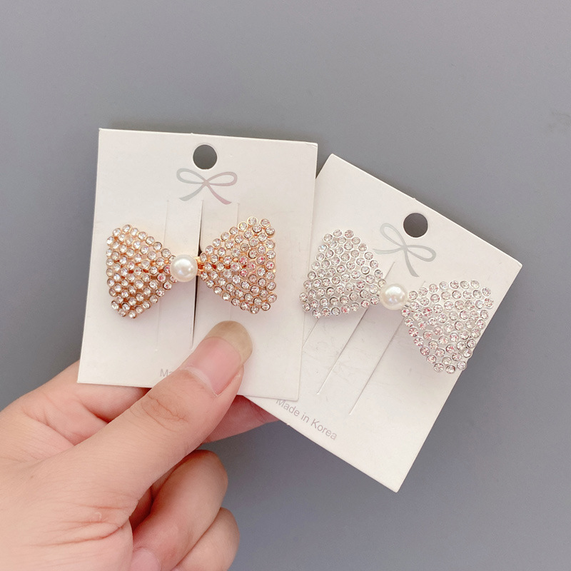 Sleek Rhinestone Bow Ribbon Clip for Fancy Hair Accessories