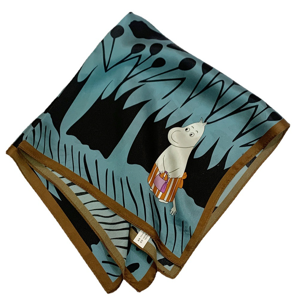 Animated Forest Print Square Scarf for Teen Girls