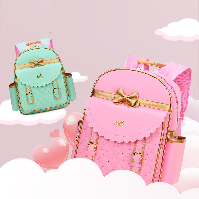 Pastel Colored Backpack with Dainty Ribbons for Preppy Girls