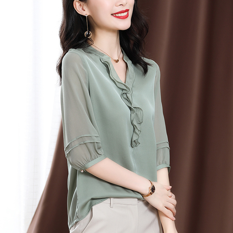 Classic Sheer Blouse for Everyday Office Wear