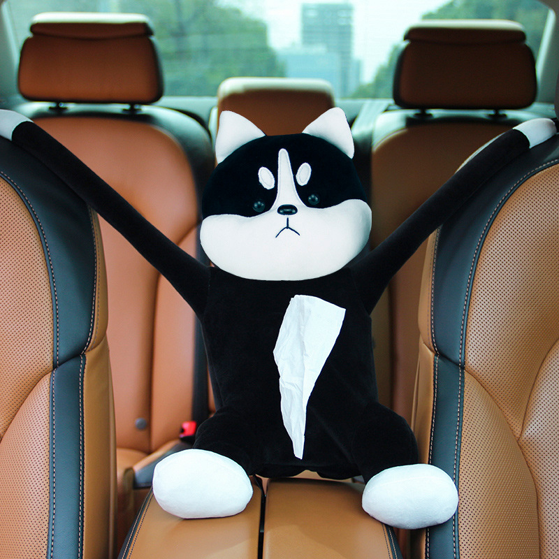 Cute and Funny Cartoon Cat Stuffed Tissue Box for Car Decorations