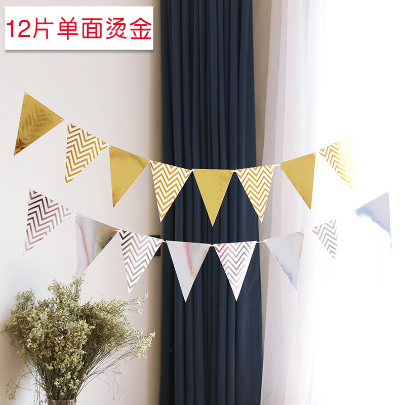 Plain and Chevron Gold/Silver Color Party Flags for Minimalist-Themed House Parties