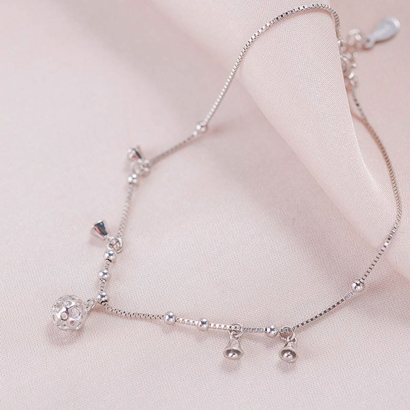Stylish S925 Silver Bell Anklet for Casual Wear
