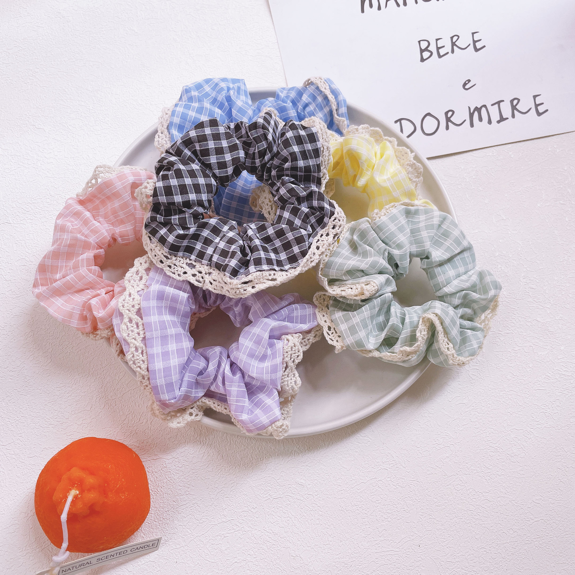 Retro Large Lace Edge Plaid Hair Ties For Pairing Up With Dress