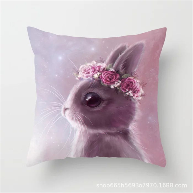 Adorable Cartoon Rabbit Pillowcase for Easter Season Home Decoration