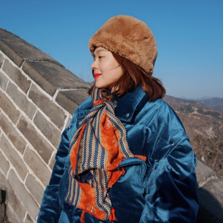 Striking Blue and Orange Patterned Cotton Scarf for Sun Protection