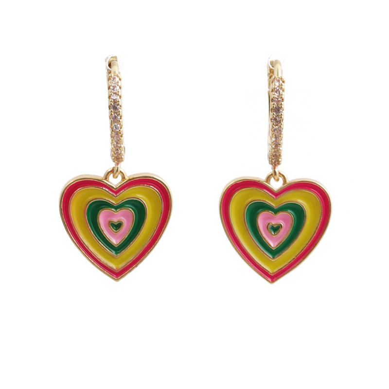 Charming Faux Gold Crystal Layered Heart Drop Hoop Earrings for Trendy Fashion