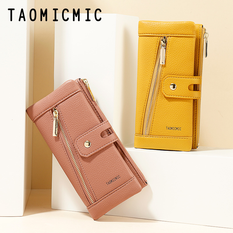 Multipurpose Candy-Colored Grainy Faux Leather Wallet for Holding Cards, Bills, and Mobile Phones