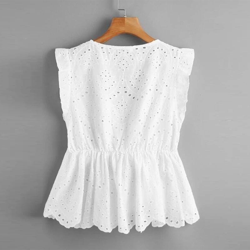 Charming White Eyelet Linen Sleeveless Top for Women's Casual Wear