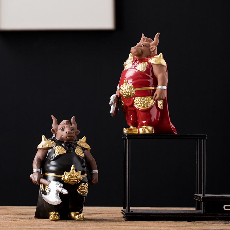 Armored Bull Ornament for Traditional Homes