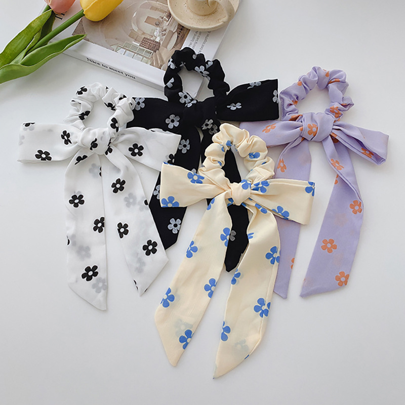 Lovely Two-Toned Flower Print Ribbon Scarf Scrunchie for Sweet and Gentle Looks