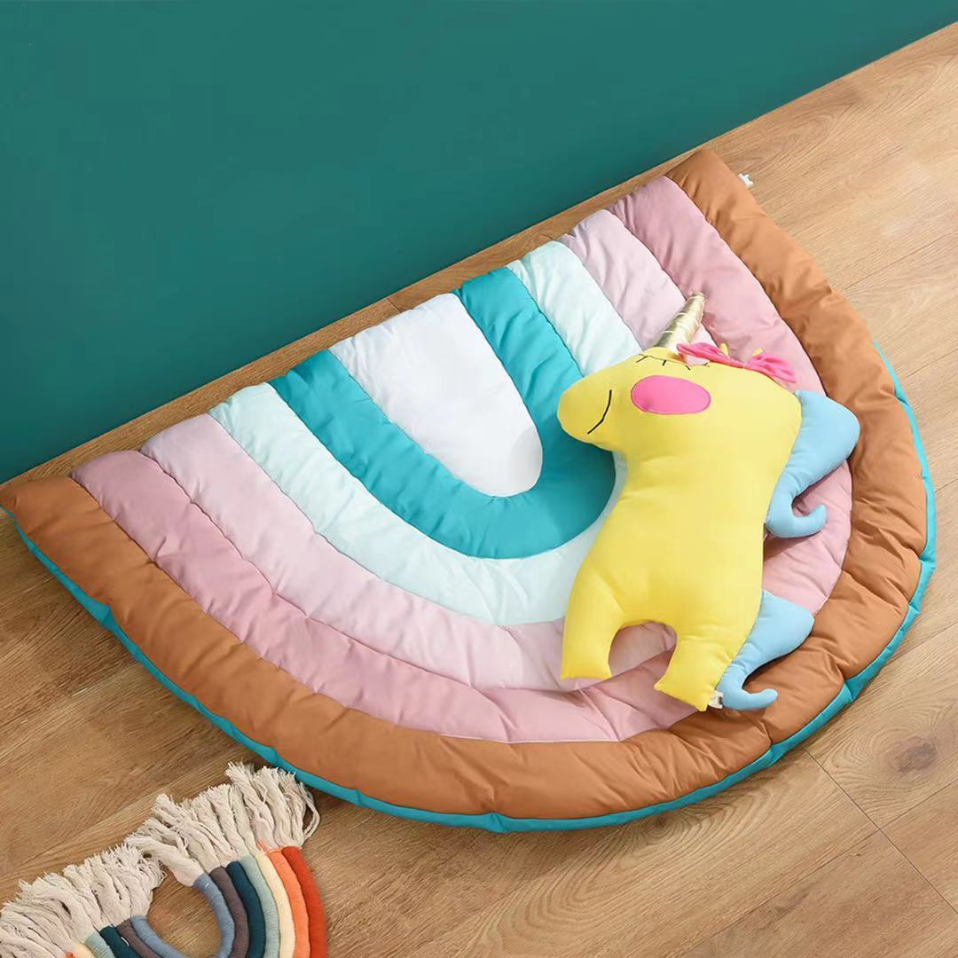 Colorful Rainbow Cotton Mat for Baby Rooms