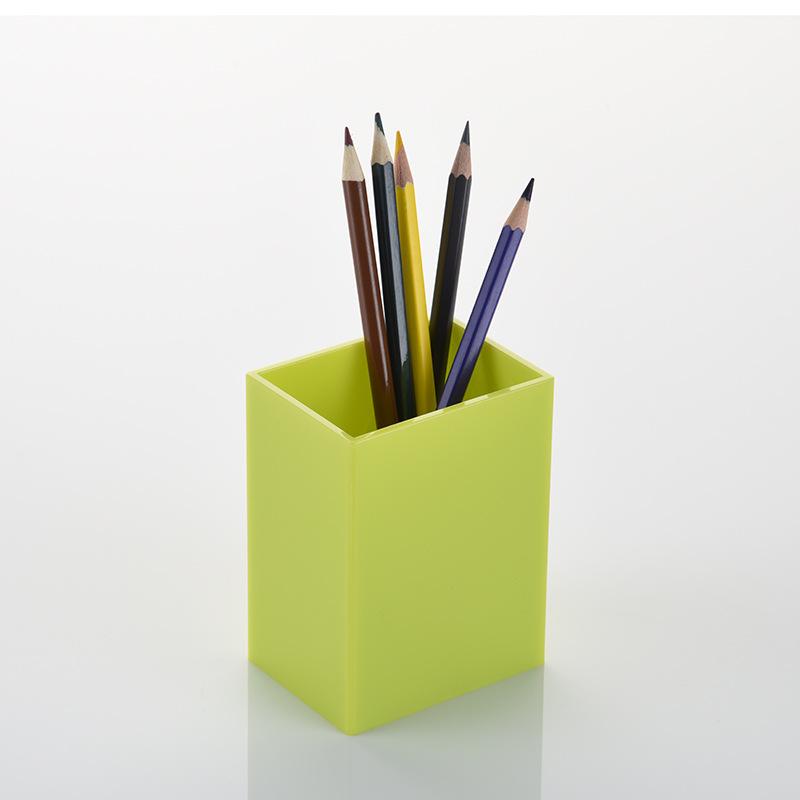 Simple White Plastic Rectangular Pen Holder Box for Convenient Storage