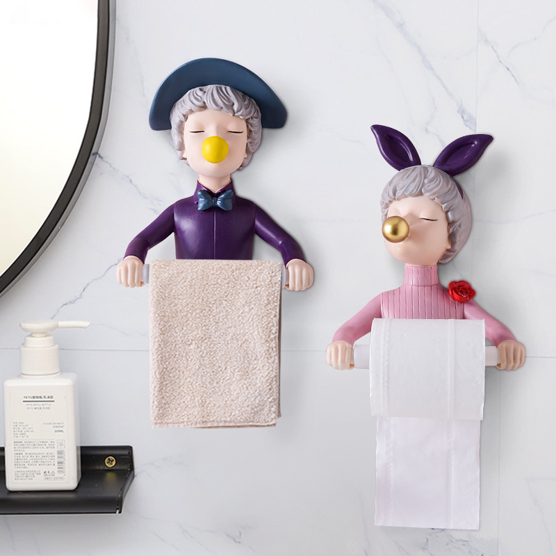 Quirky Lady Toilet Roll Holder for Children's Bathrooms