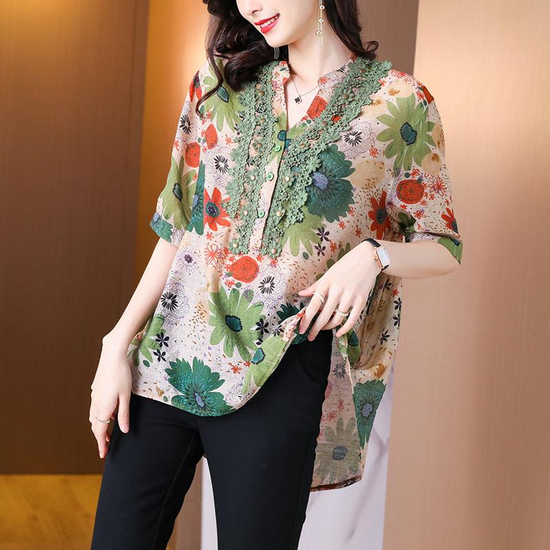 Polished Floral Print V-Neck Long Sleeves Shirt for Everyday Work Errands