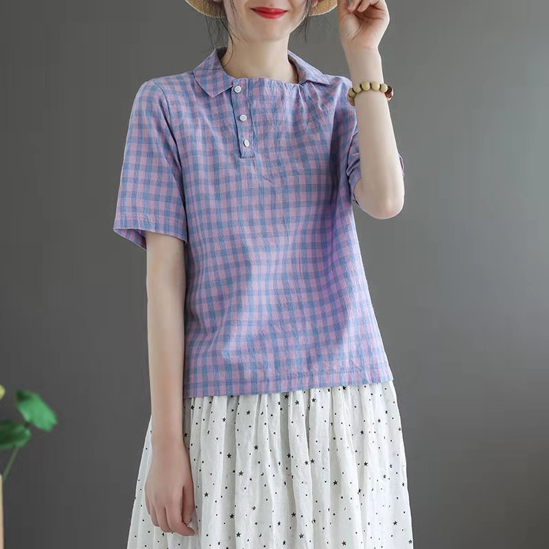 Loose Fit Gingham Plaid Short Sleeves Polo for Stylish Summer Style