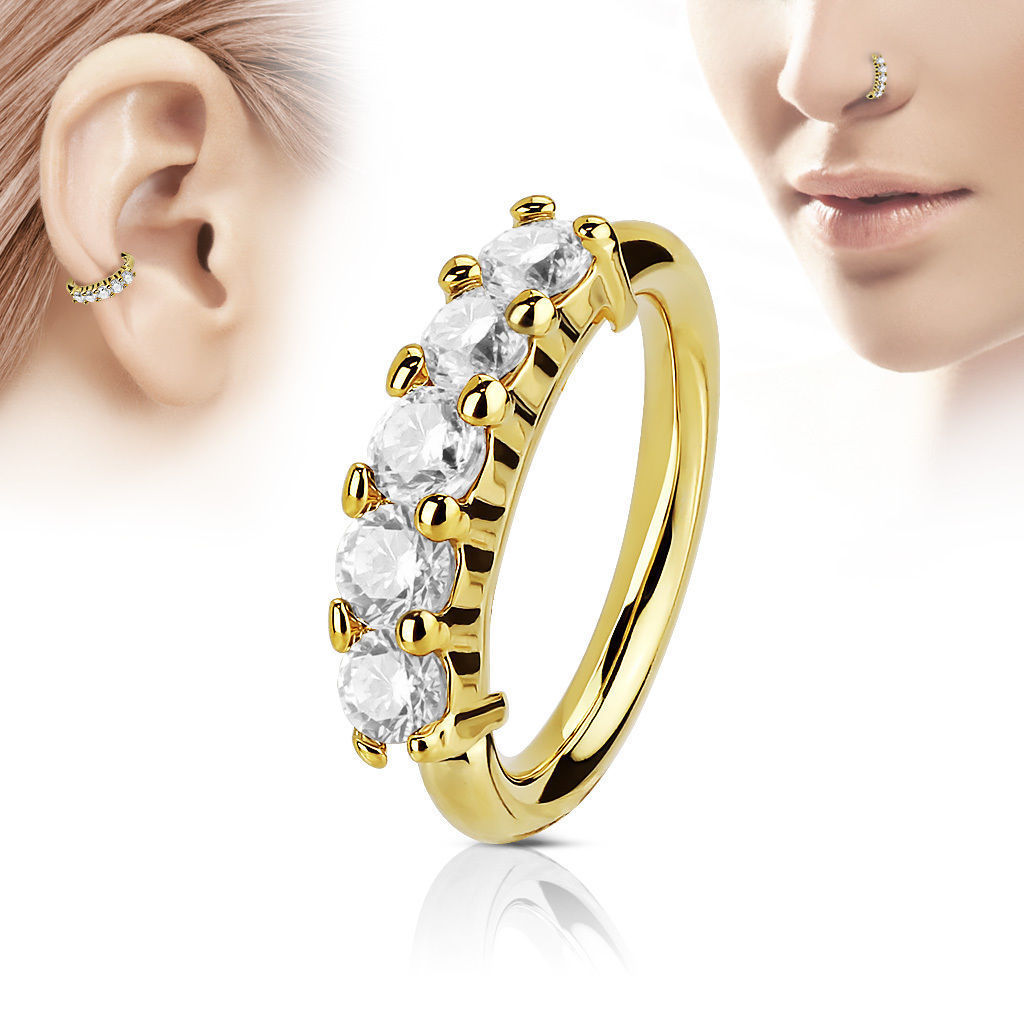 Classy Faux Gems Segment Ring for Body Piercings