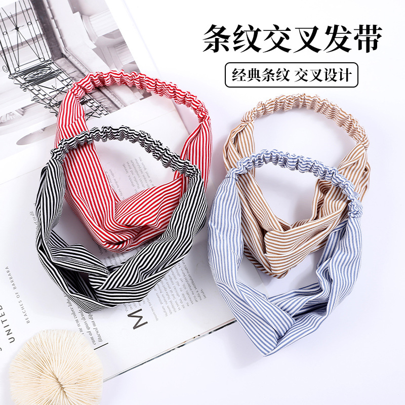 Striped Stretchable Fabric Cross Headband for Yoga Activities