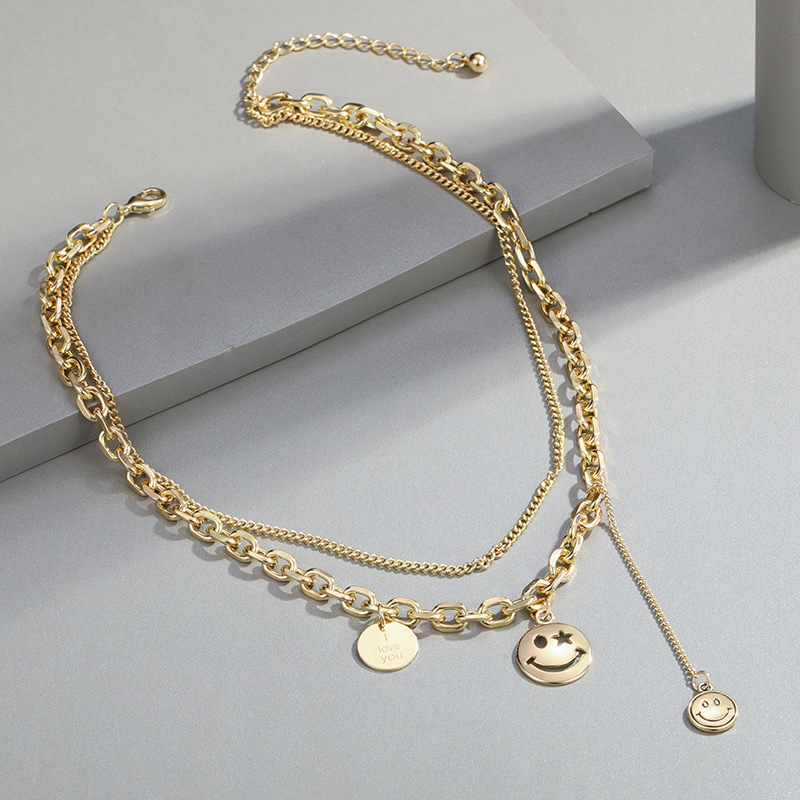 Double Chain Necklace with Multiple Smiley Pendant for Lively Outfits