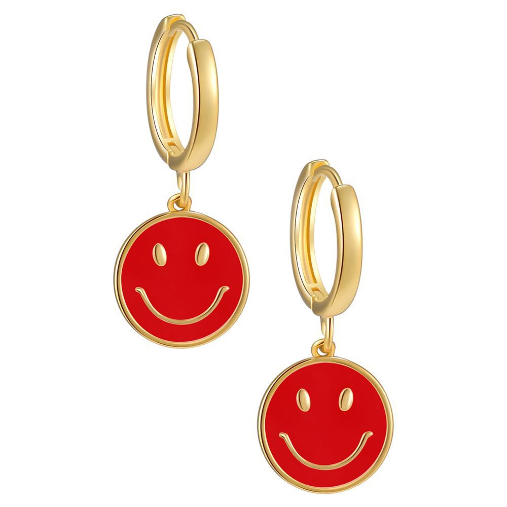 Charming Colored Smiley Face Hook Earrings for Everyday Use