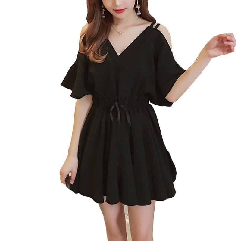 Cute Little Black Chiffon Cold-Shoulder Dress for Romantic Dates and Hangouts