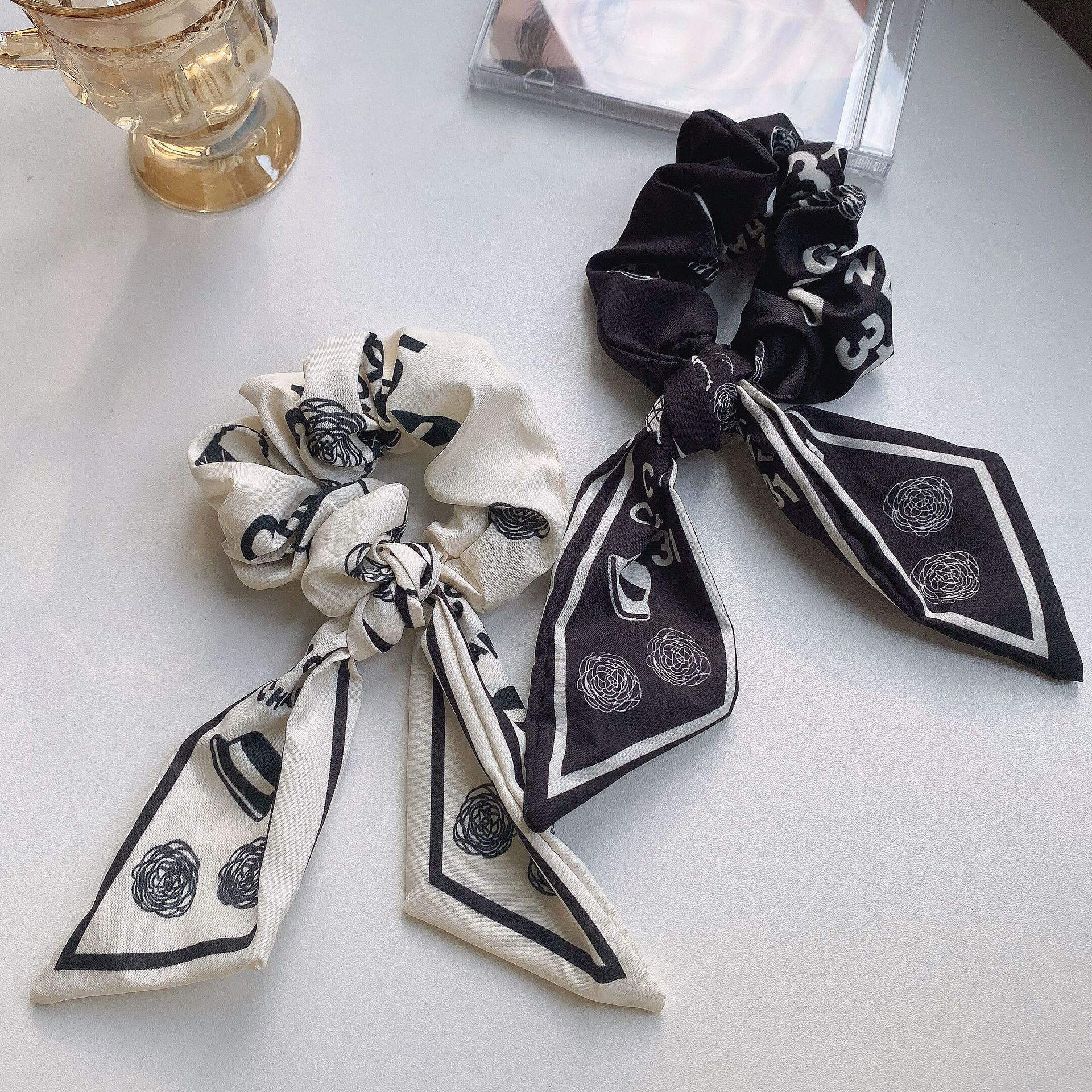 Monochrome Printed Cloth Scrunchies for Classy Looks