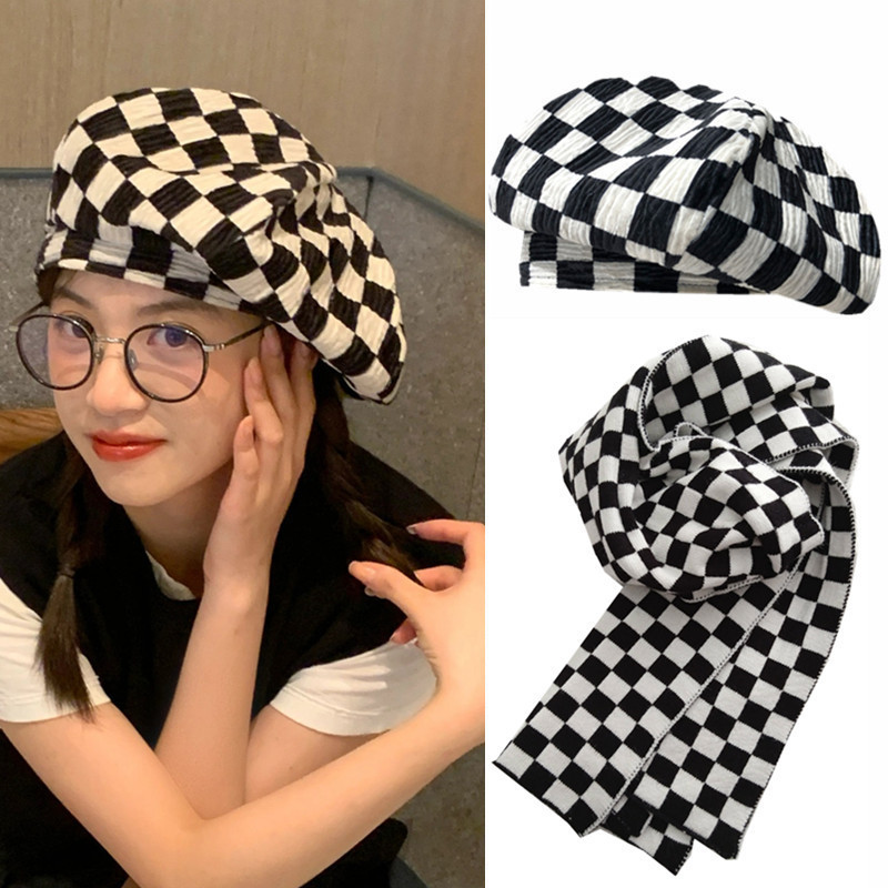 Charismatic Two-Piece Gingham Plaid Beret Hat/Scarf for Winter Wear
