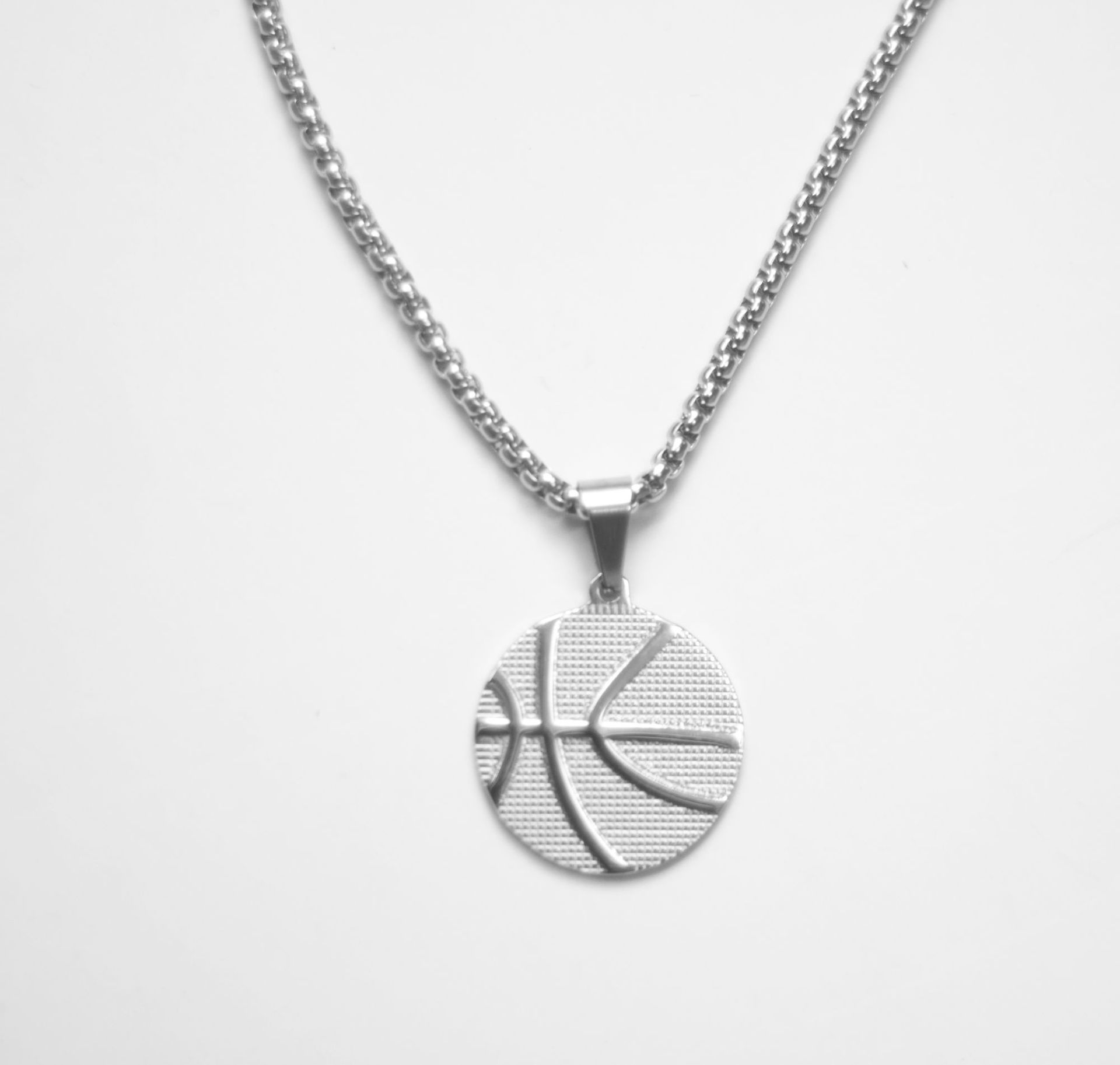 Cool Basketball Pendant Titanium Steel Necklace for Gifts to Boys