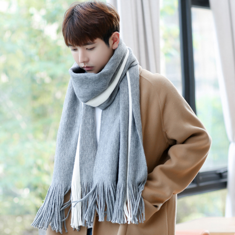 Worldly Vertical Stripe Tassel Scarf for Korean Style Winter Fashion