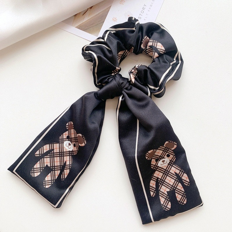 Houndstooth Plaid Pattern Scarf Scrunchie for Ladies