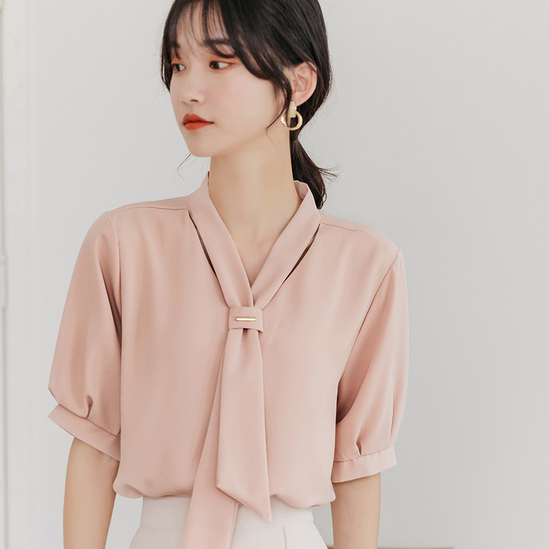 Rich Chiffon Short-Sleeved V-Neck Blouse with Tie for Sophisticated Office Wear