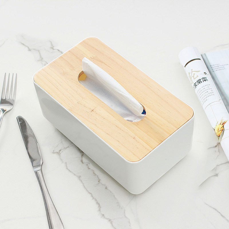 Modern Wood and Plastic Desk Organizer and Tissue Holder for Home Essentials