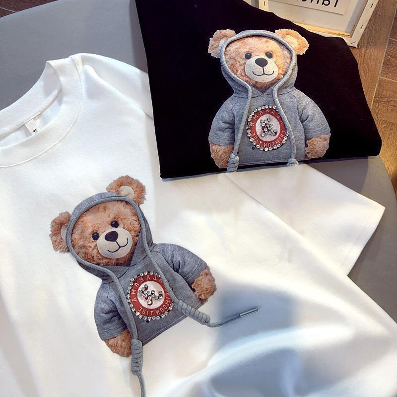 Bear in a Hoodie Print Oversize Shirt for Boyish Aesthetics