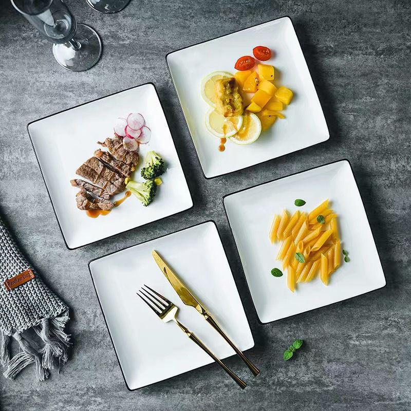 Black and White Square Ceramic Plate for Steak House Use