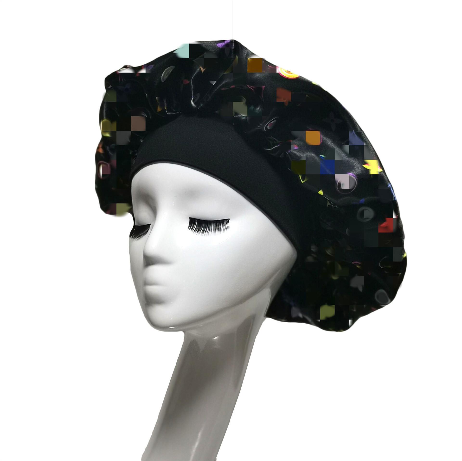 Breathable  Satin Elastic Satin Head Cap for Sleeping