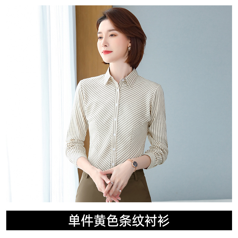 Classy Striped Button-Up Long-Sleeved Polo Shirt for Women's Regular Work Day Outfits