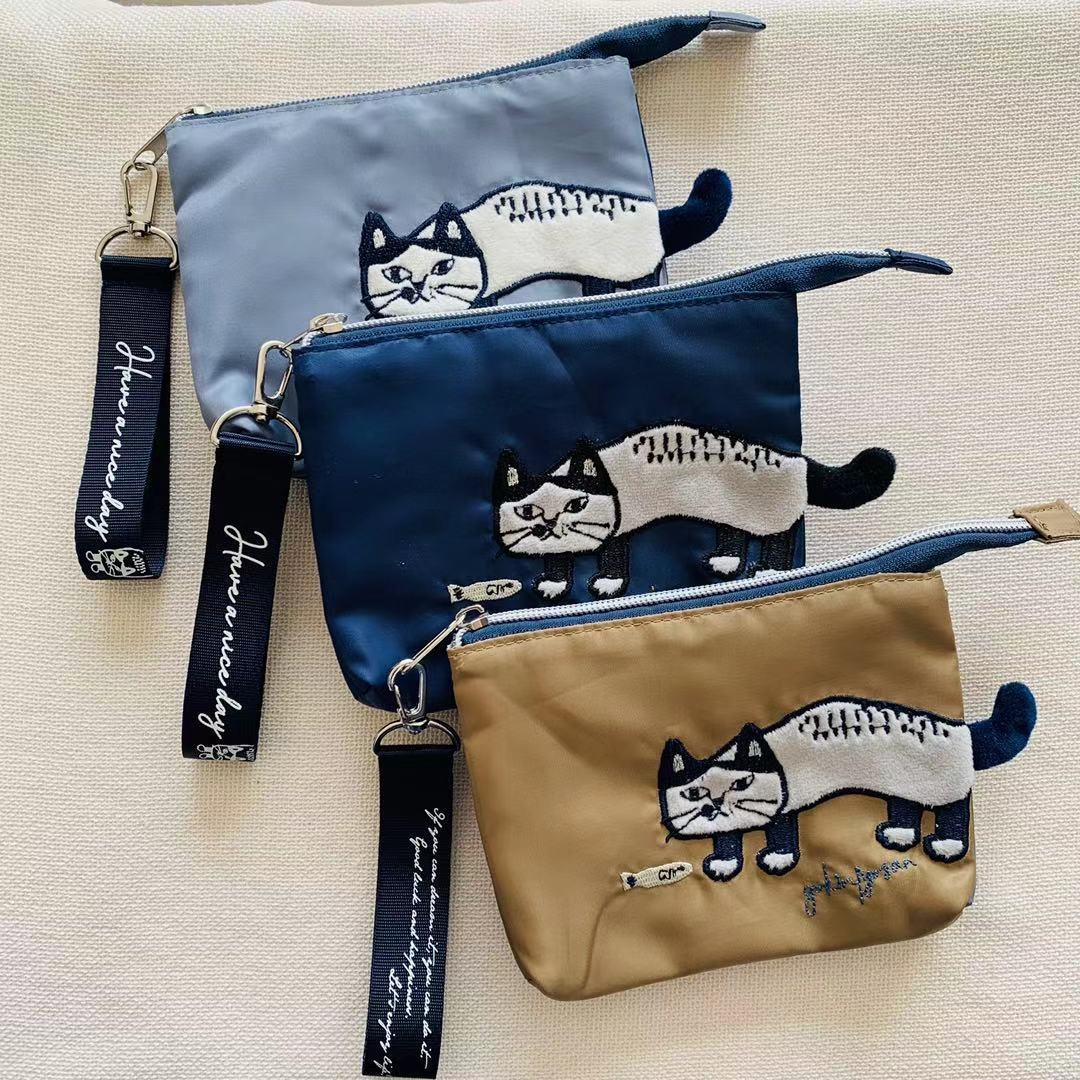 Casual Cat Embroidered Coin Purse for Everyday Use