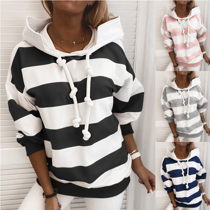 Simple Striped Hoodie for Street Attire