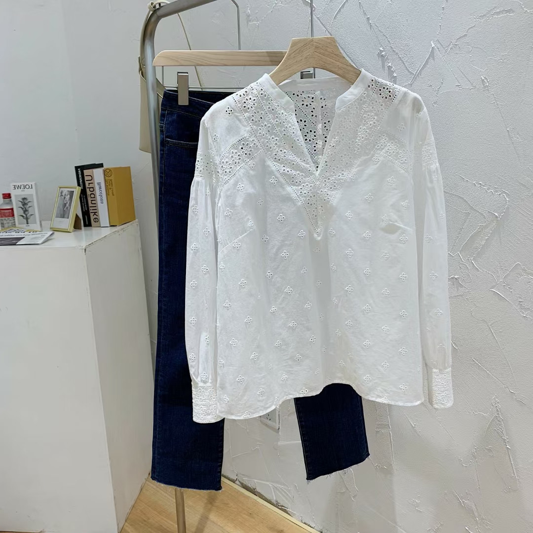 Embroidered White Long-Sleeved Blouse for Office Wear