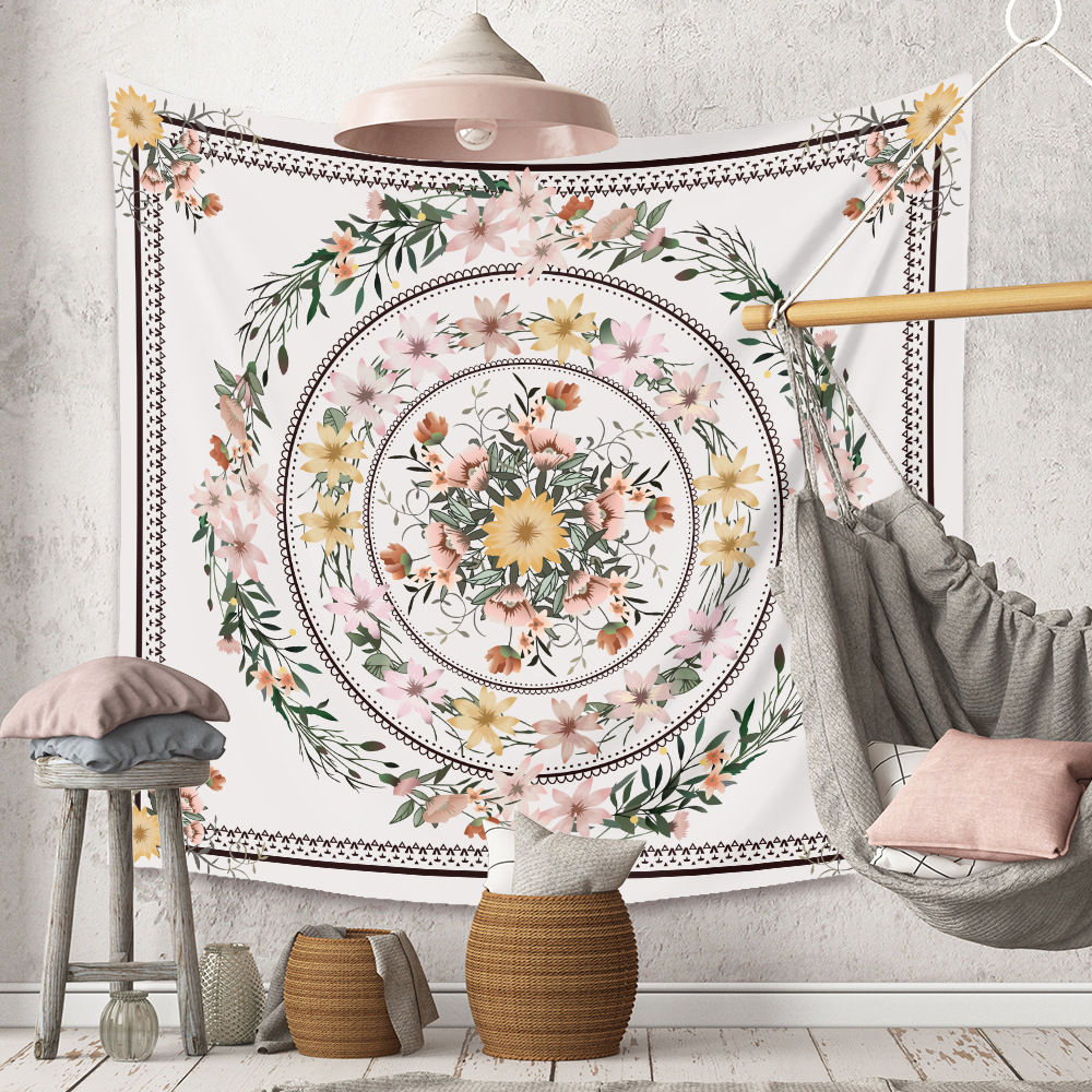 Dainty White Floral Print Wall Tapestry for Home Décor