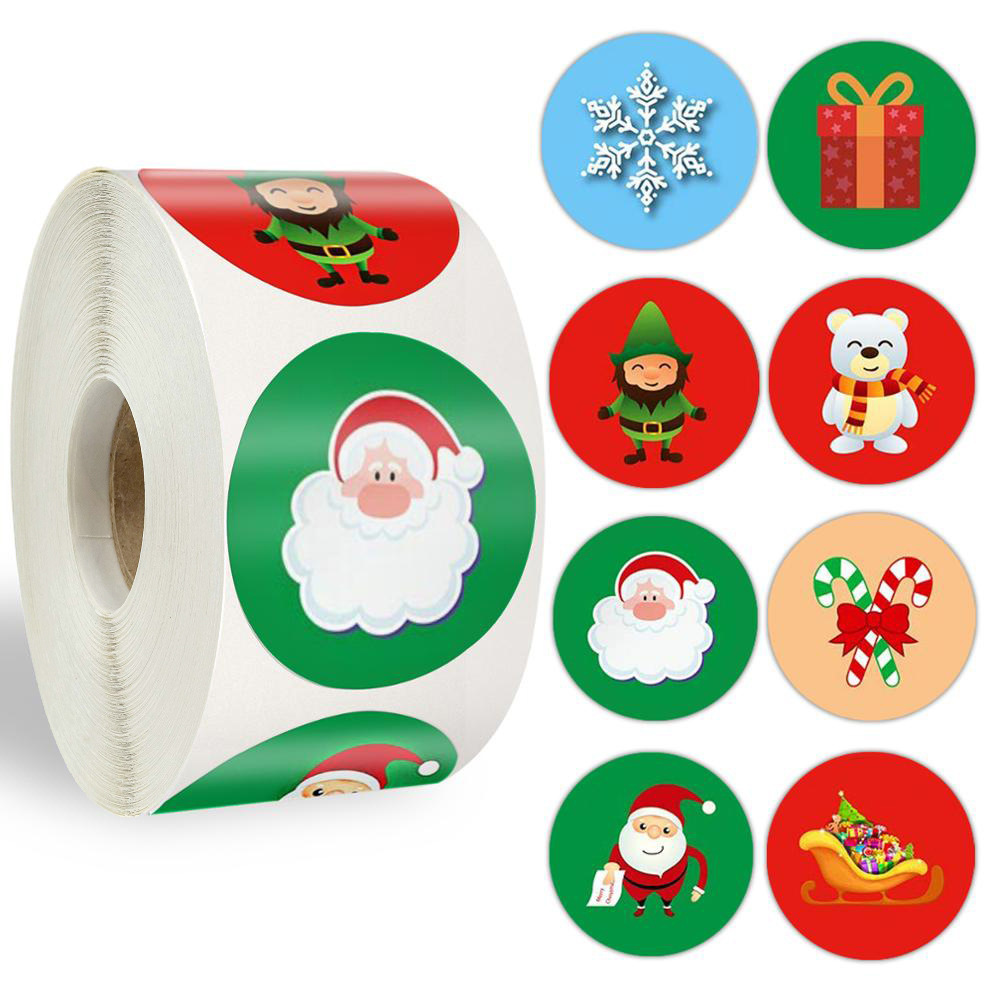 Fun Christmas-Themed Sticker Roll for Designing Christmas Cards